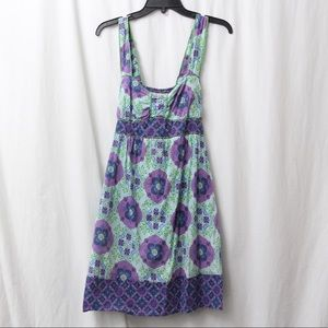 Flying Tomato Blue Purple Green Floral Dress Large